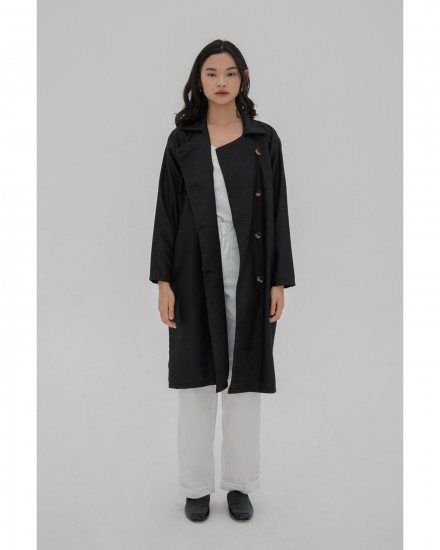 Domino Long Jacket - Black