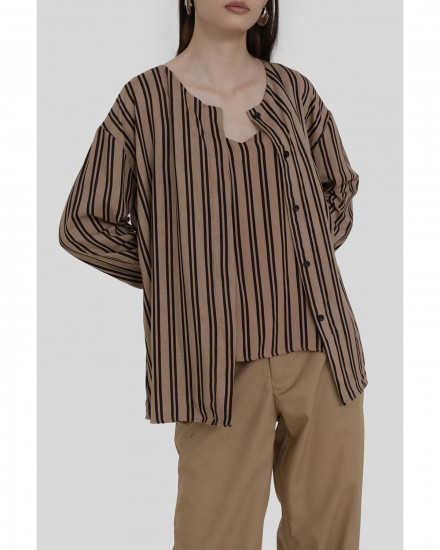 Tate Shirt & Tanktop - Brown Stripes