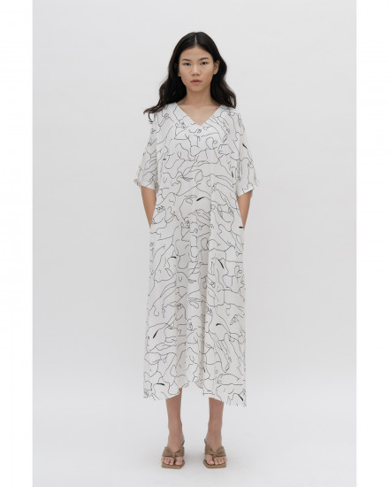 Luca Dress - Abstract White