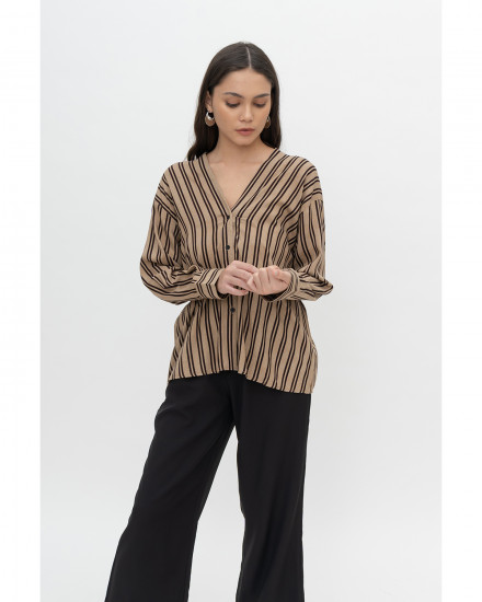 Reagan Top - Brown Stripes