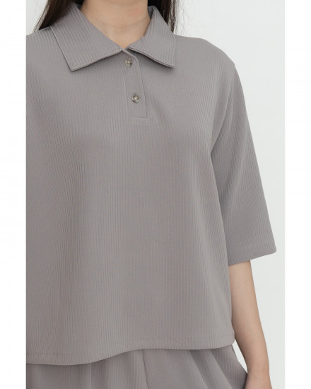 Pansy Knit Polo - Light Grey