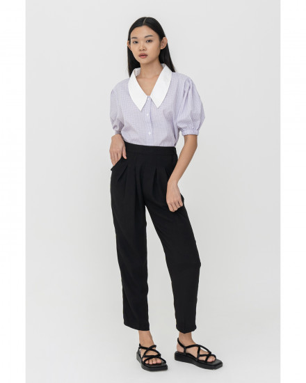 Casey Top - Lilac Gingham